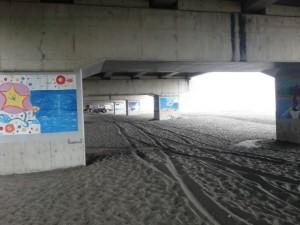 大磯海浜浴場の高架下の浜
